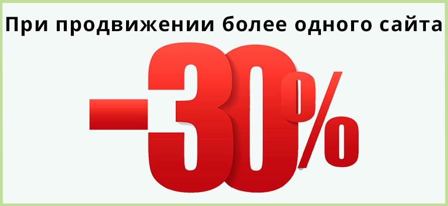 Скидка до 30% при продвижении более 1 сайта